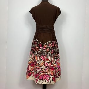 Sangria Brown and Floral A-Line Midi Dress